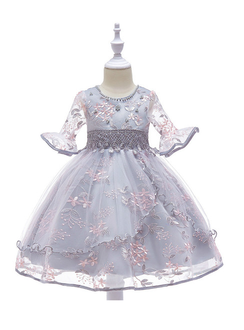 In Stock:Ship in 48 Hours Gray Tulle Embroidery Short Sleeve Flower Girl Dress