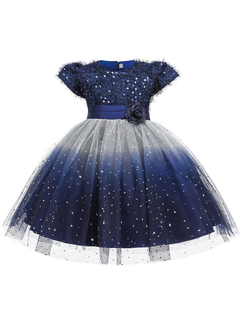 In Stock:Ship in 48 Hours Navy Blue Sequins Cap Sleeve Flower Girl Dress