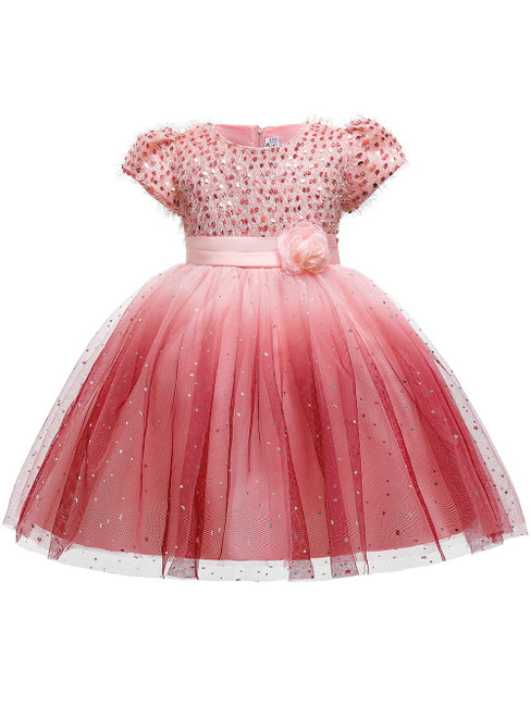 In Stock:Ship in 48 Hours Pink Sequins Cap Sleeve Flower Girl Dress
