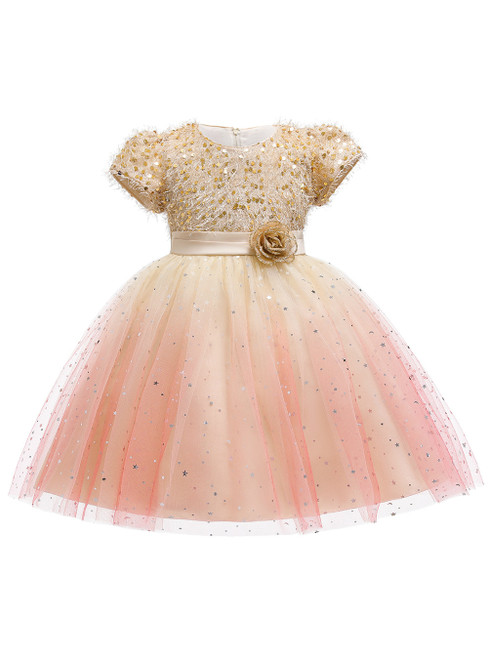 In Stock:Ship in 48 Hours Champagne Sequins Cap Sleeve Flower Girl Dress
