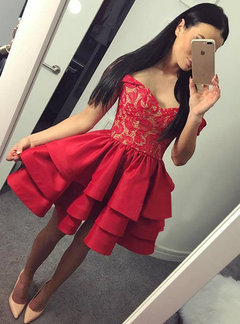 Cheap homecoming dresses 2017 Off Shoulder Homecoming Dresses Sweetheart
