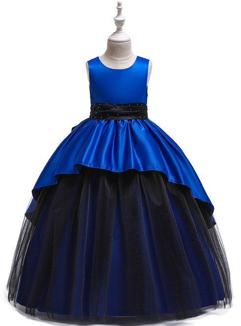 In Stock:Ship in 48 Hours Royal Blue Satin Tulle Beading Flower Girl Dress