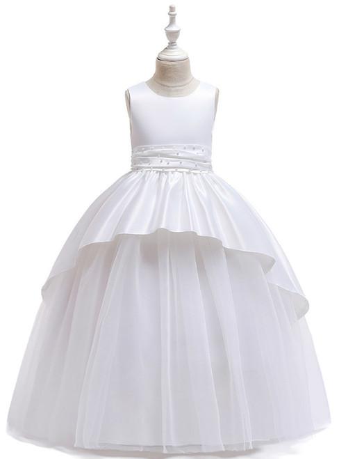 In Stock:Ship in 48 Hours White Satin Tulle Beading Flower Girl Dress