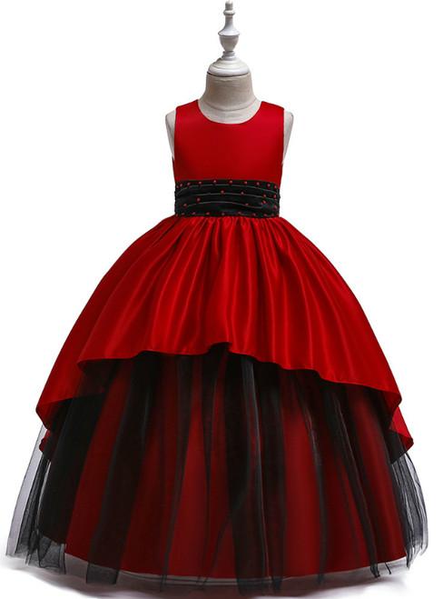 In Stock:Ship in 48 Hours Red Satin Tulle Beading Flower Girl Dress