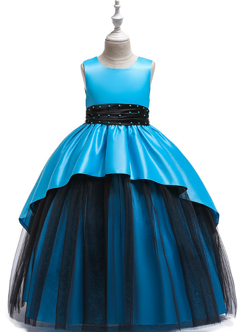 In Stock:Ship in 48 Hours Sky Blue Satin Tulle Beading Flower Girl Dress