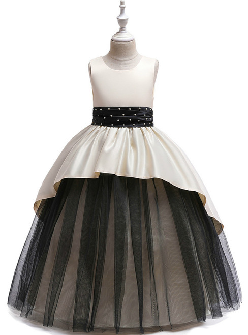 In Stock:Ship in 48 Hours Champagne Satin Tulle Beading Flower Girl Dress