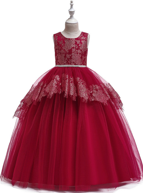 In Stock:Ship in 48 Hours Burgundy Tulle Beading Flower Girl Dress