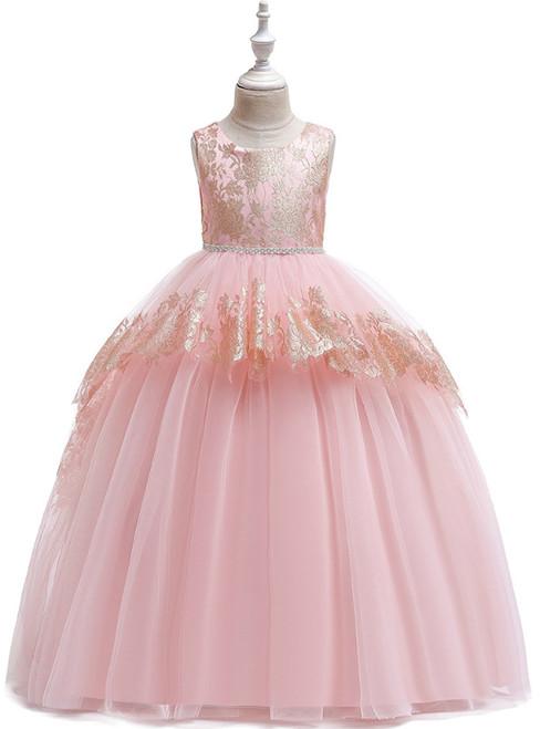 In Stock:Ship in 48 Hours Pink Tulle Beading Flower Girl Dress