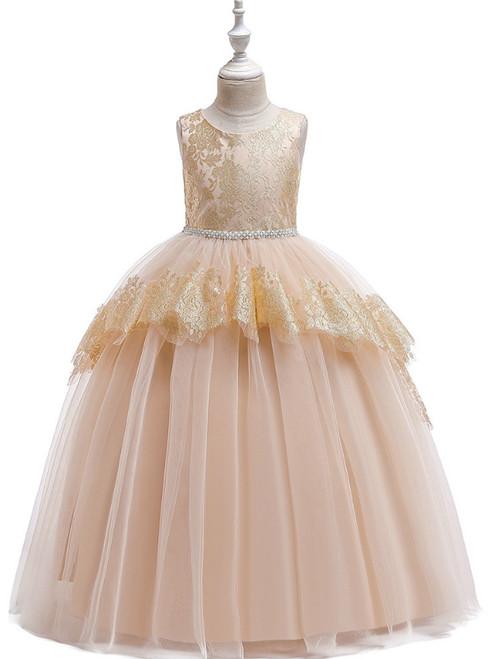 In Stock:Ship in 48 Hours Champagne Tulle Beading Flower Girl Dress