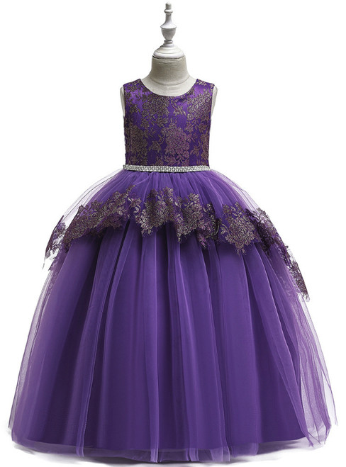 In Stock:Ship in 48 Hours Purple Tulle Beading Flower Girl Dress