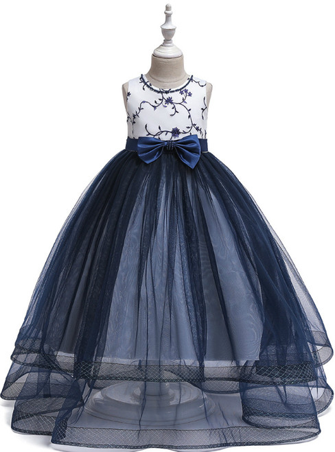 In Stock:Ship in 48 Hours Navy Blue Tulle Flower Girl Dress With Bow