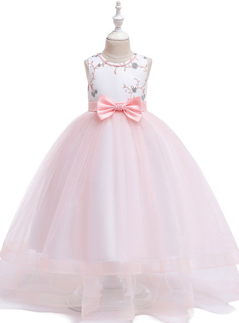 In Stock:Ship in 48 Hours A-Line Pink Tulle Flower Girl Dress With Bow