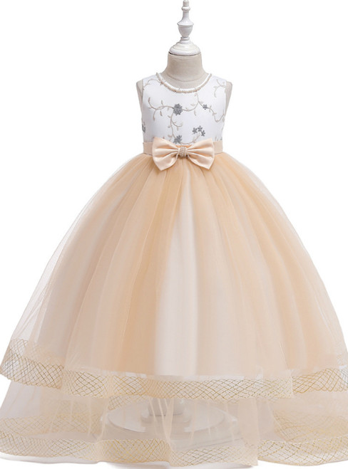 In Stock:Ship in 48 Hours A-Line Champagne Tulle Flower Girl Dress With Bow