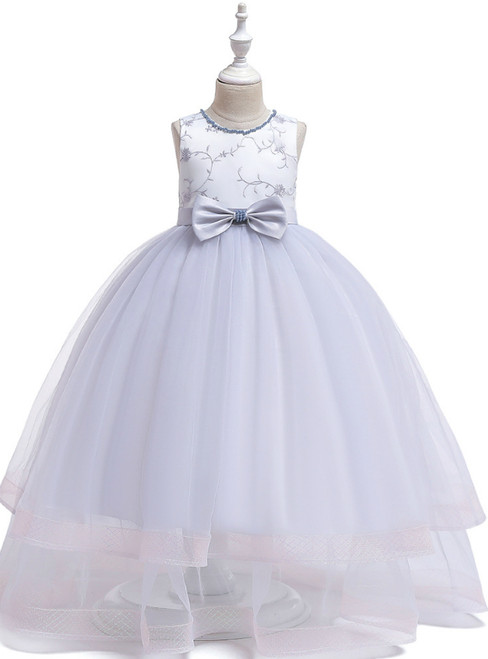 In Stock:Ship in 48 Hours A-Line Silver Gray Tulle Flower Girl Dress With Bow