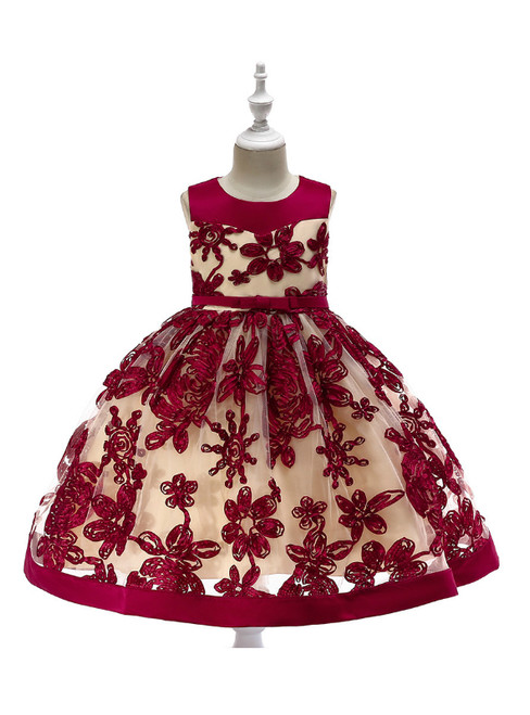 In Stock:Ship in 48 Hours Burgundy Tulle Sleeveless Flower Girl Dress