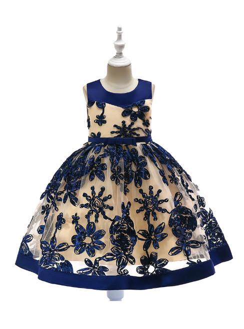 In Stock:Ship in 48 Hours  Navy Blue Tulle Sleeveless Flower Girl Dress