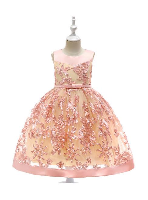 In Stock:Ship in 48 Hours Pink Tulle Sleeveless Flower Girl Dress