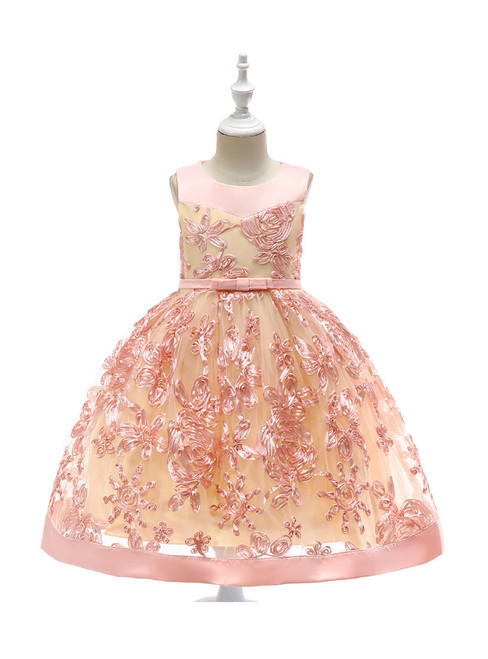 In Stock:Ship in 48 Hours Pink Tulle Sleeveless Flower Girl Dress