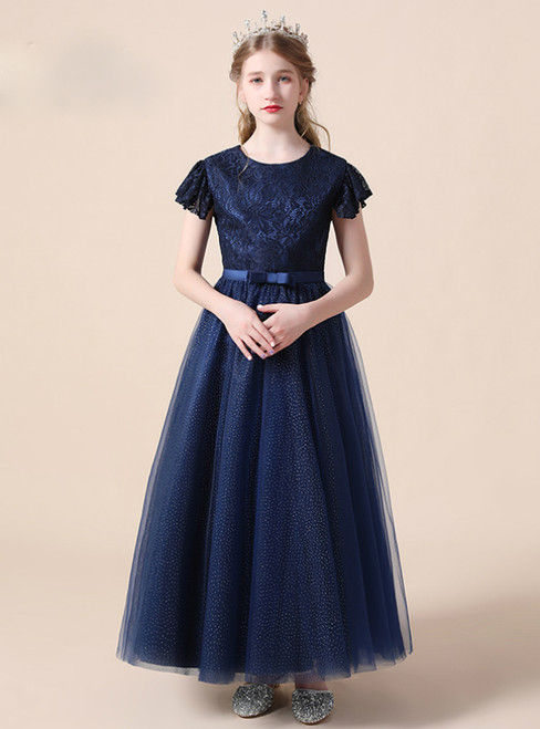 A-Line Navy Blue Tulle Lace Cap Sleeve Flower Girl Dress With Bow