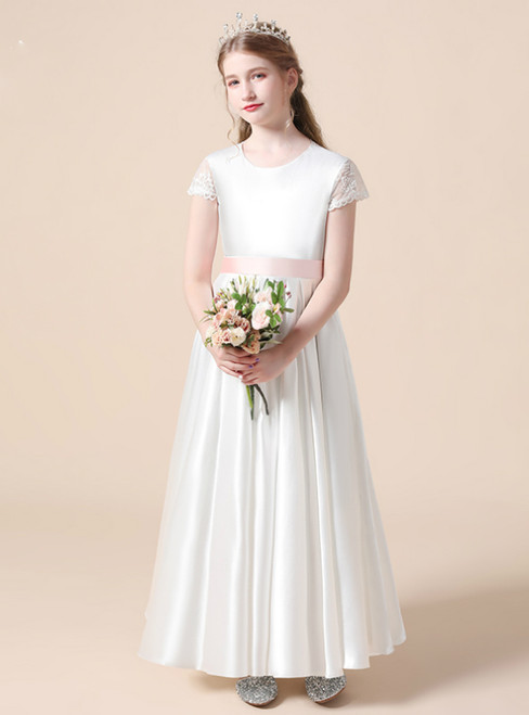 A-Line White Satin Cap Sleeve Flower Girl Dress With Sash