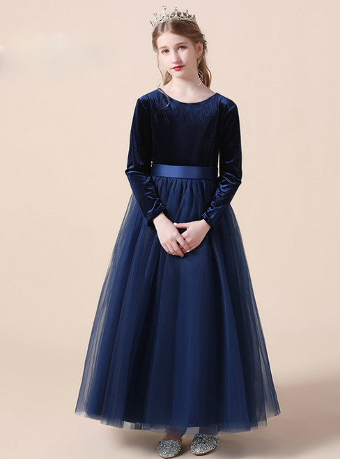 Navy Blue Tulle Velvet Long Sleeve Flower Girl Dress With Bow