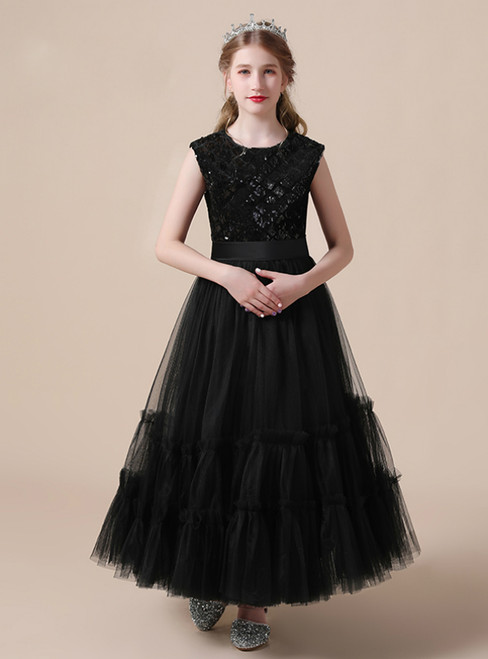 A-Line Black Tulle Sequins Sleeve Flower Girl Dress