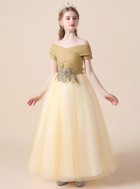 A-Line Yellow Tulle Off the Shoulder Appliques Flower Girl Dress