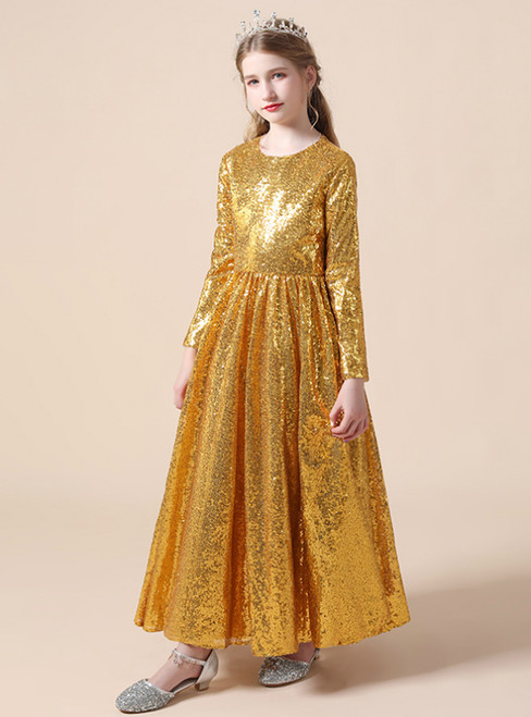 A-Line Gold Sequins Long Sleeve Flower Girl Dress