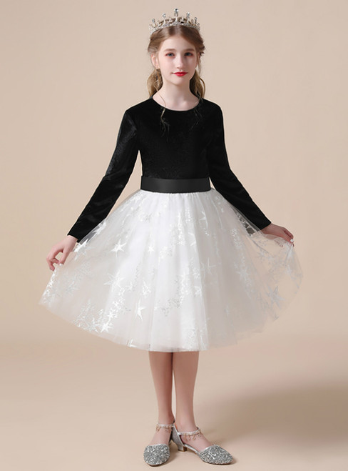 A-Line Black Velvet White Tulle Long Sleeve Knee Length Flower Girl Dress