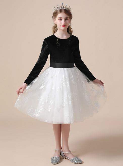 A-Line Black Velvet White Tulle Long Sleeve Knee Length Flower Girl Dress