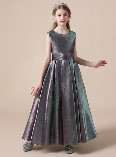 A-Line Satin Sleeveless Pleats Long Flower Girl Dress