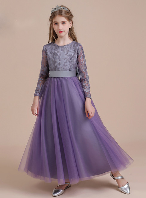 A-Line Purple Tulle Lace Long Sleeve Flower Girl Dress With Bow