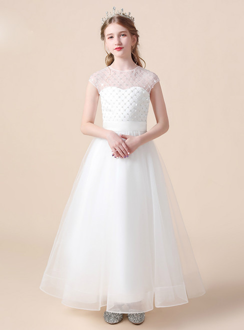 A-Line White Tulle Sequins Cap Sleeve Flower Girl Dress