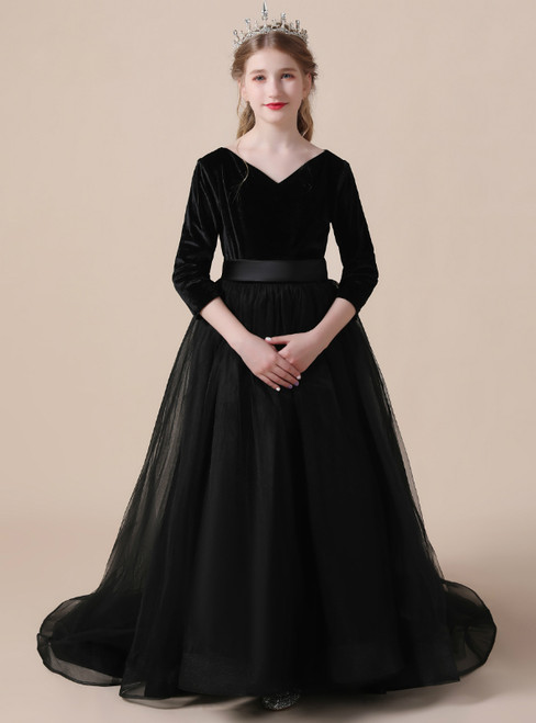 A-Line Black Tulle Velvet V-neck 3/4 Sleeve Flower Girl Dress