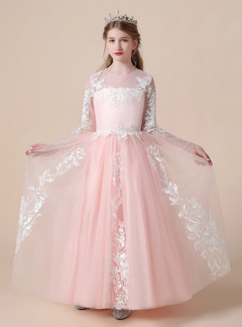 A-Line Pink Tulle White Appliques Long Sleeve Flower Girl Dress