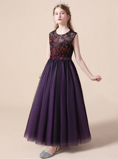 Dark Purple Tulle Appliques Sleeveless Long Flower Girl Dress