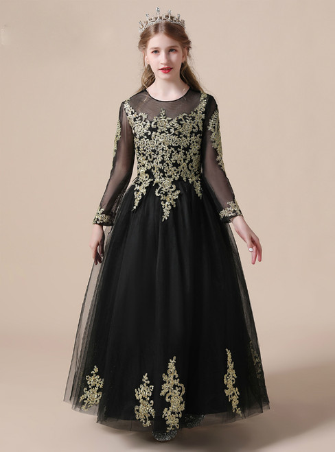 A-Line Black Tulle Gold Lace Appliques Long Sleeve Flower Girl Dress