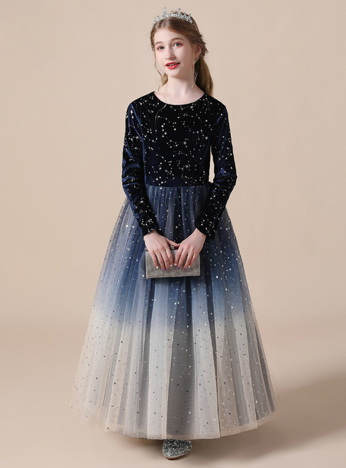 Navy Blue Tulle Velvet Sequins Long Sleeve Flower Girl Dress
