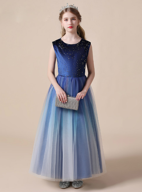 Simple Blue Tulle Velvet Sequins Long Flower Girl Dress