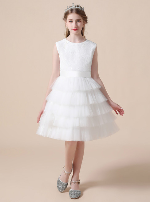 Fashion White Tulle Tiers Sequins Short Flower Girl Dress
