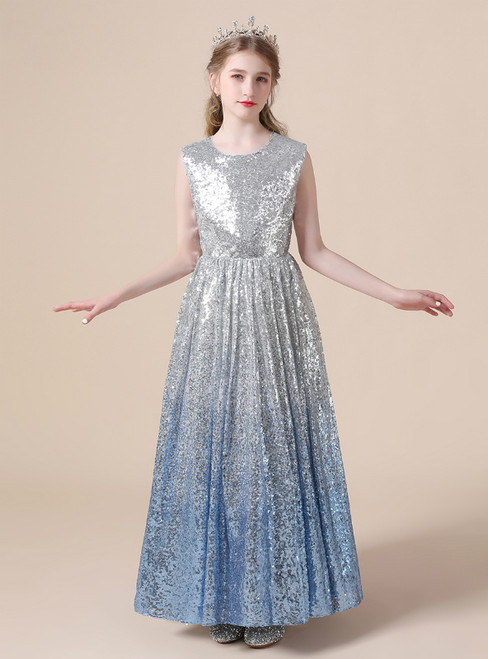 A-Line Silver Blue Sequins Long Sleeveless Flower Girl Dress
