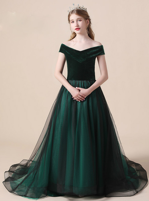 Dark Green Tulle Velvet Off the Shoulder Flower Girl Dress