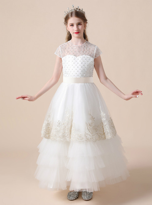 A-Line White Tulle Sequins Cap Sleeve Appliques Flower Girl Dress