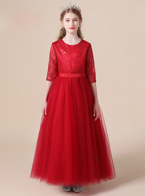 A-Line Red Tulle Seuqins Half Sleeve Flower Girl Dress
