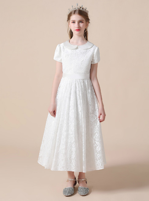 A-Line White Lace Short Sleeve Tea Length Flower Girl Dress