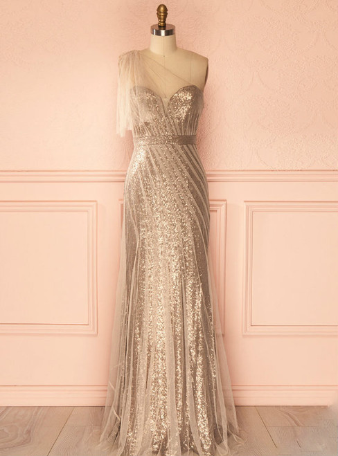 Champagne Long Sheath Evening Dresses One Shoulder Sequins Tulle Women