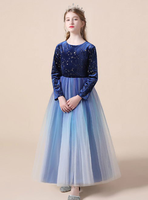 A-Line Blue Tulle Velvet Sequins Long Sleeve Flower Girl Dress