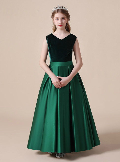 Green Satin Velvet V-neck Pleats Flower Girl Dress