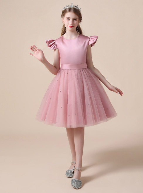 A-Line Pink Tulle Satin Short Flower Girl Dress With Pearls