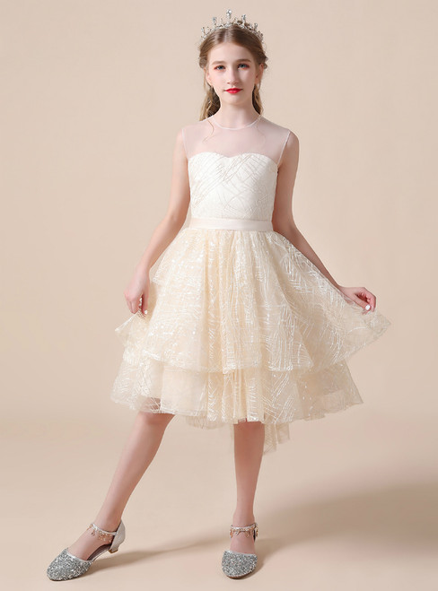 A-Line Yellow Tulle Scoop Sleeveless Flower Girl Dress With Bow